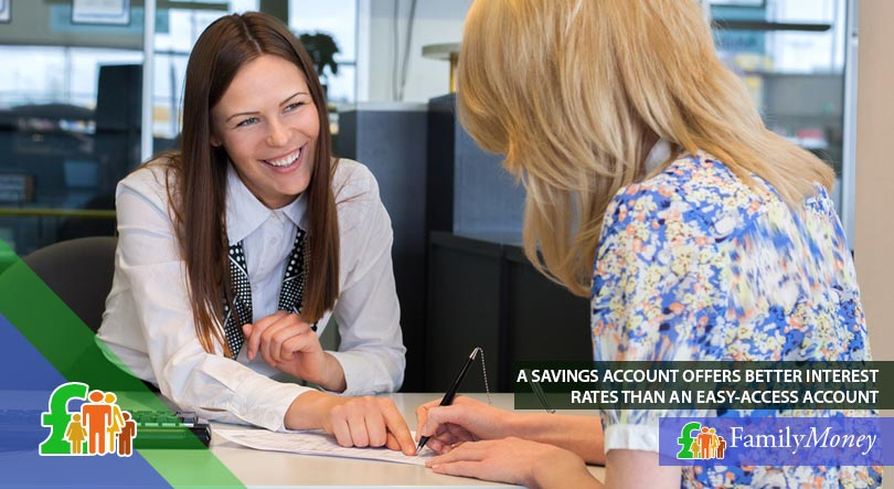 A woman opening a savings account at the bank to easily and quickly save for a mortgage deposit