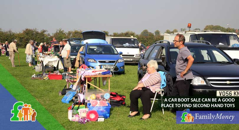 A car boot sale, where second hand kids' toys can be found to save money