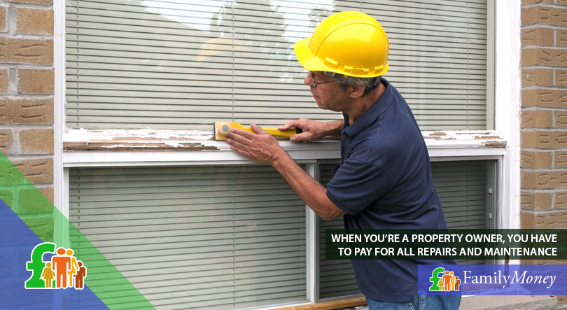 A workman repairing the exterior of a house, a cost of buying property