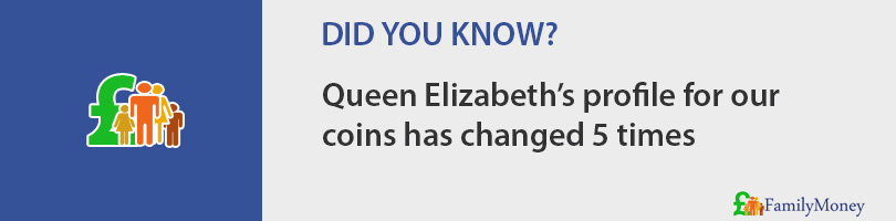 Queen Elizabeth's profile for our  coins has changed 5 times