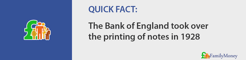 The Bank of England took over  the printing of notes in 1928