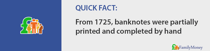 From 1725, banknotes were partially printed and completed by hand