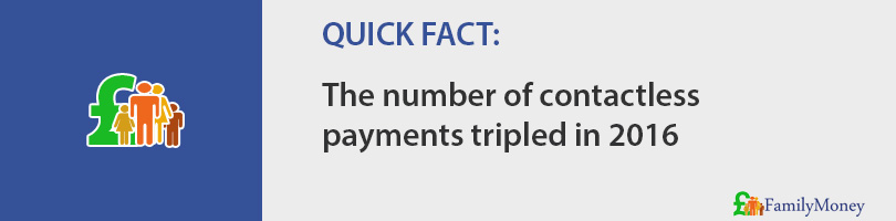 The number of contactless payments tripled in 2016