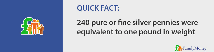 240 pure of fine silver pennies were equivalent to one pound in weight