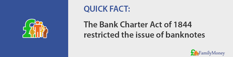 The Bank Charter Act of 1844 restricted the issue of banknotes