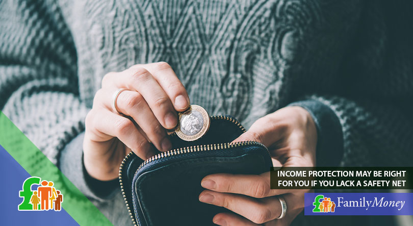 Woman placing coin in small pouch, saving money as she does not have income protection