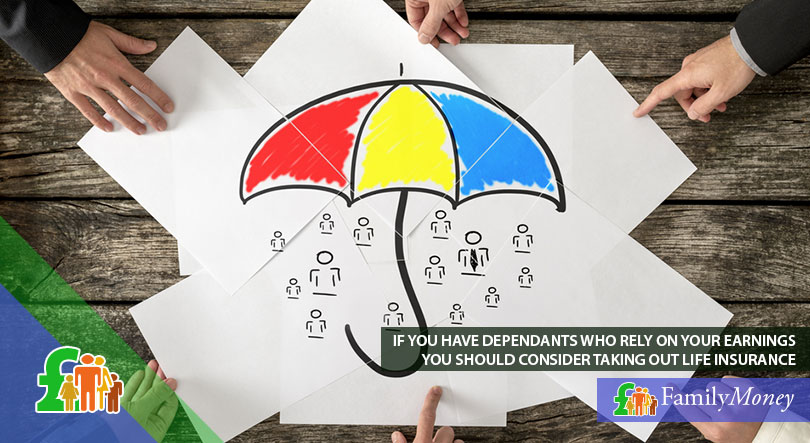 A sketch of people under an umbrella symbolising the need for life insurance