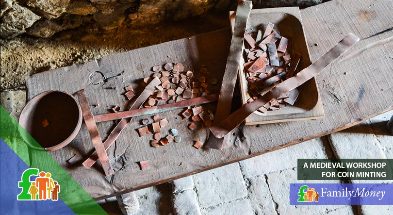 A medieval workshop for the minting of coins, used in the early history of money in the UK