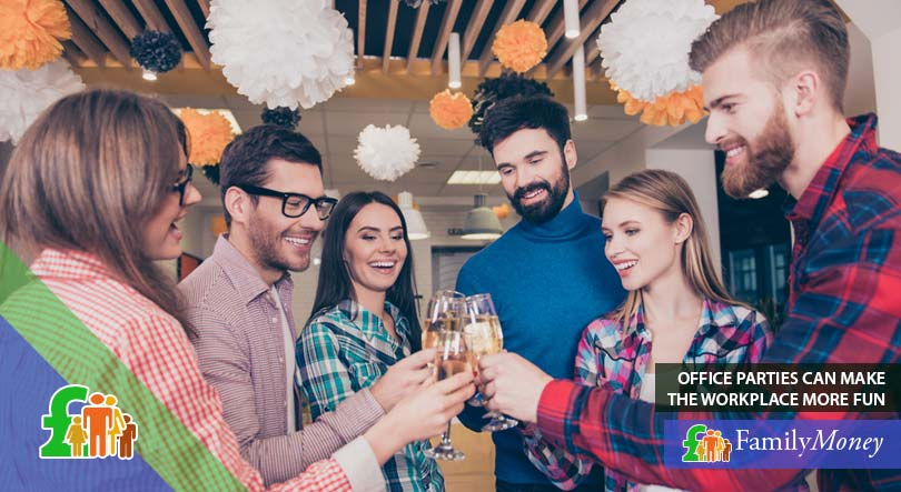 People drinking and celebrating at a luxury office, an activity which boosts their happiness and productivity
