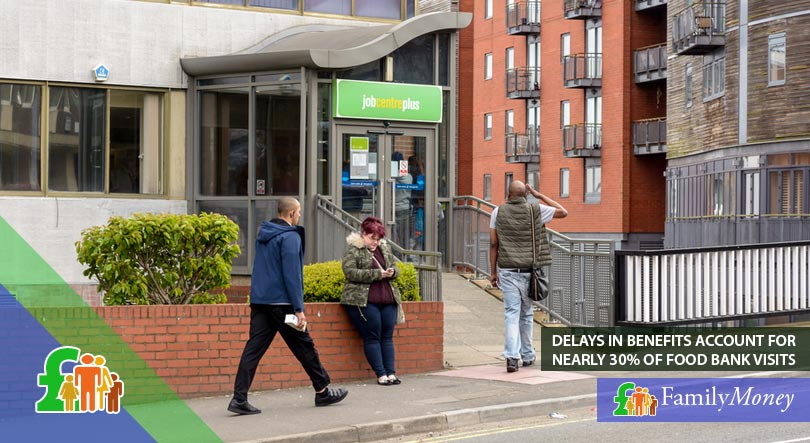 People at a jobcentre, which can cause delays and lead to people to use food banks