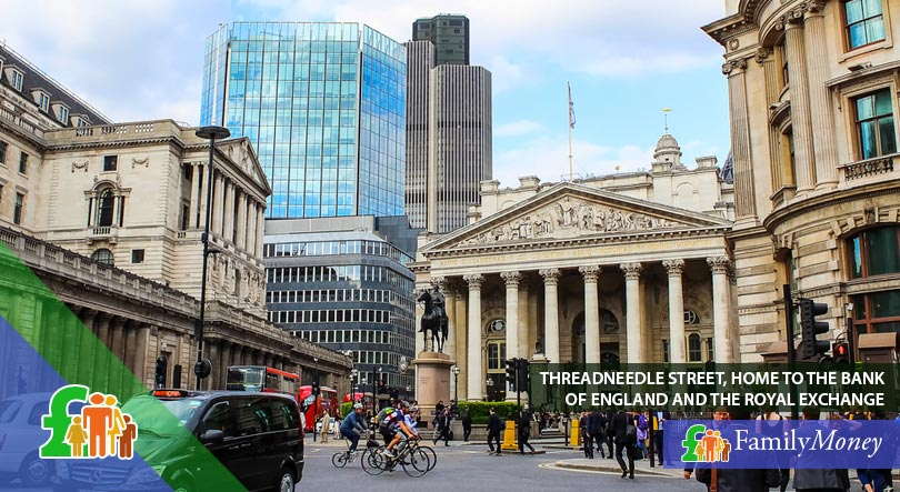 Threadneedle Street in London, home to the Bank of England and the Royal Exchange, both important institutions in the history of the Pound Sterling