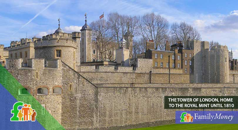The Tower of London, where British coinage used to be minted until 1810