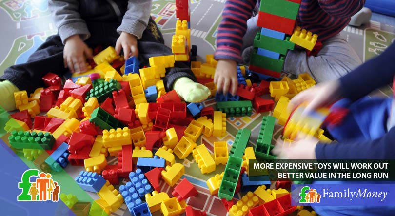 Children playing with toy bricks, a great value toy which saves money as it has many uses