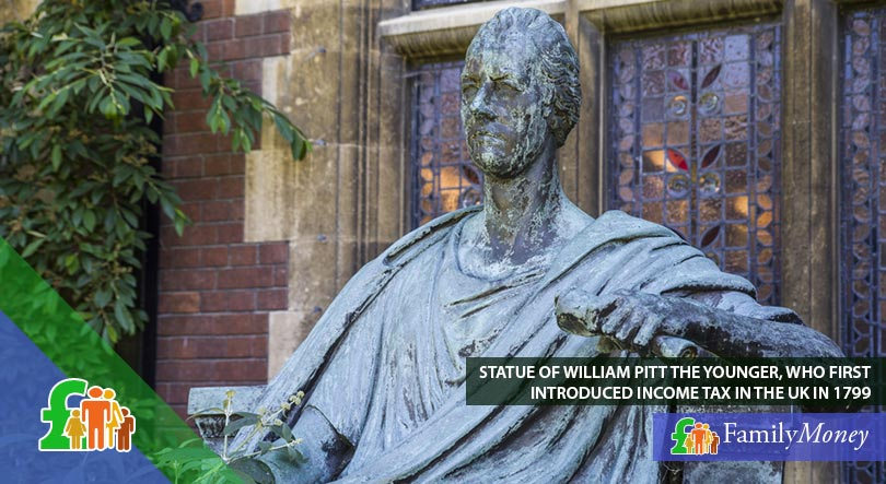 A statue of William Pitt the Younger who first introduced income tax in the UK in 1799