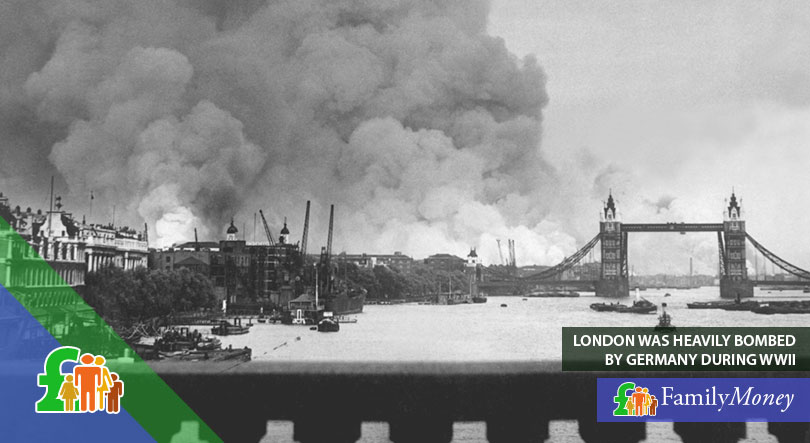 London heavily bombed during World War 2