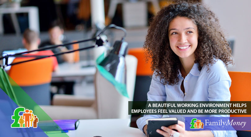 A young woman feeling productive and happy at a luxury office