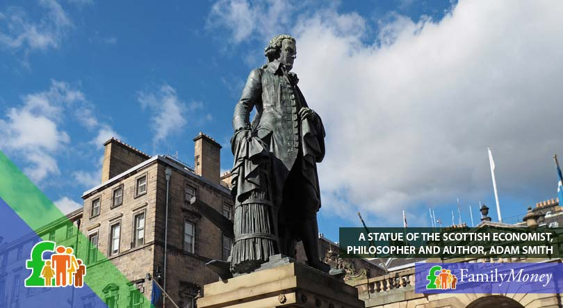 A statue of Adam Smith, a prominent British figure who was featured on the 20 pound banknote
