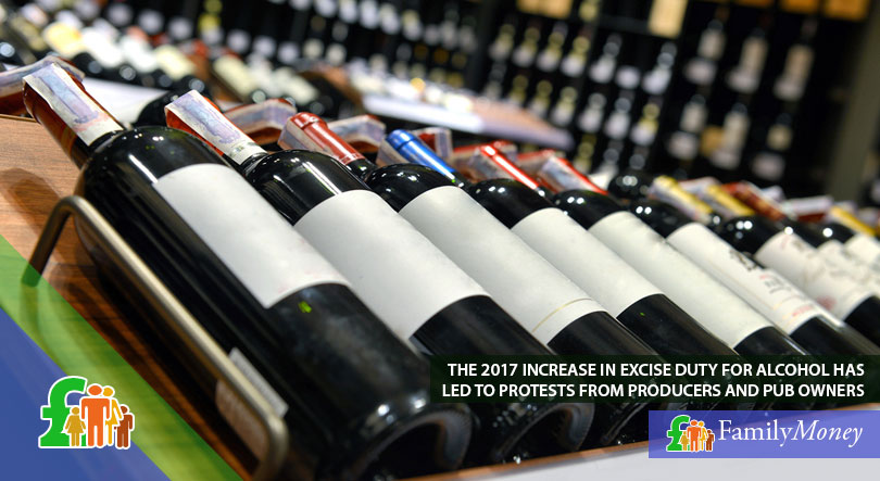 A picture of bottles of wine, which have had their price increased due to excise duty changes in March 2017