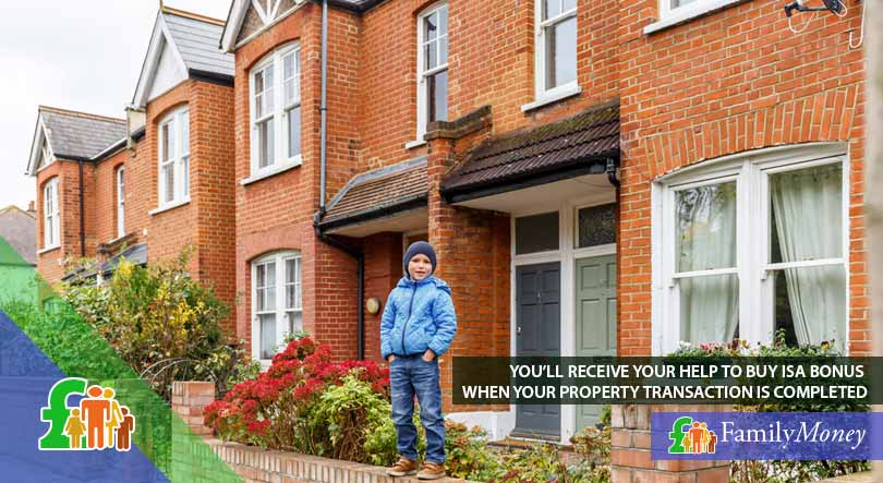 A boy standing outside a home recently purchased with the help of an ISA