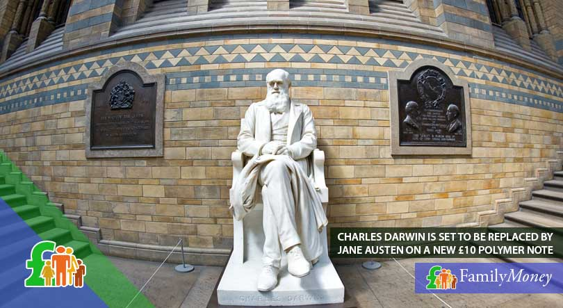 A statue of Charles Darwin, a prominent British figure who was featured on the 10 pound note