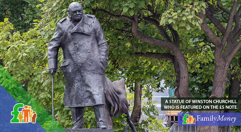 A statue of Winston Churchill, who appears on the first polymer banknote