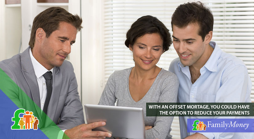 A couple consulting with a mortgage lender, discussing the terms of an offset mortgage and the possibility to reduce their payments