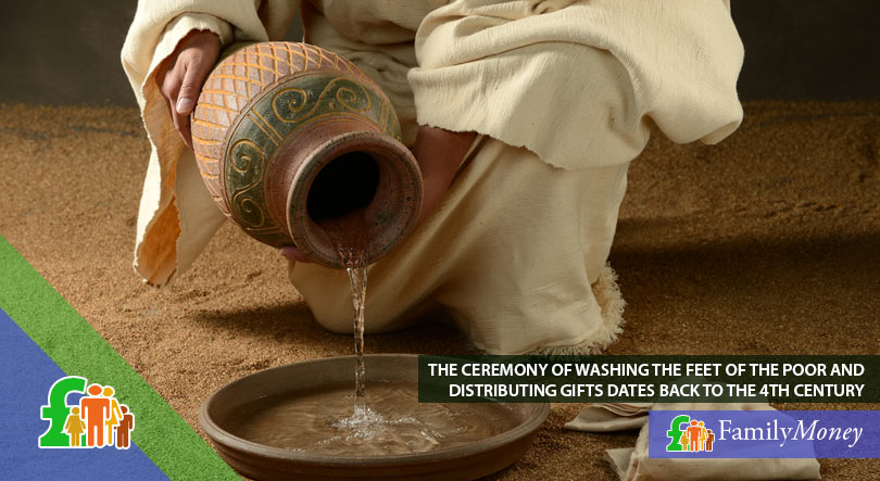 A picture of a man pouring water into a tray preparing for a foot wash, which a tradition dating back to the 4th century