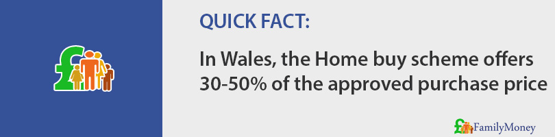 In Wales, the Home buy scheme offers 30-50% of the approved purchase price