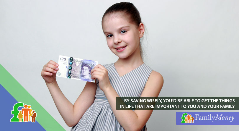A girl holding a 20 pound cash note before depositing it in a savings account