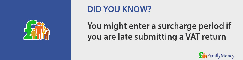 You might enter a surcharge period if you are late submitting a VAT return