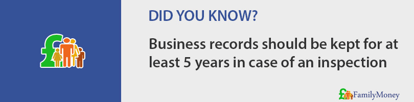 Business records should be kept for at least 5 years in case of an inspection