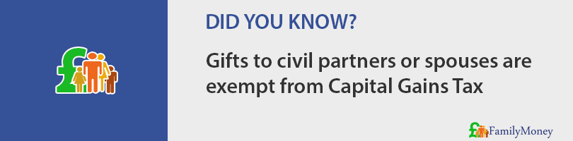 Gifts to civil partners or spouses are  exempt from Capital Gains Tax