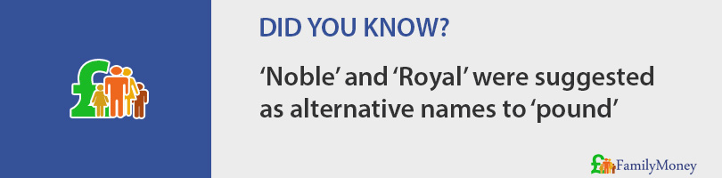 'Noble' and 'Royal' were suggested  as alternative names to 'pound'