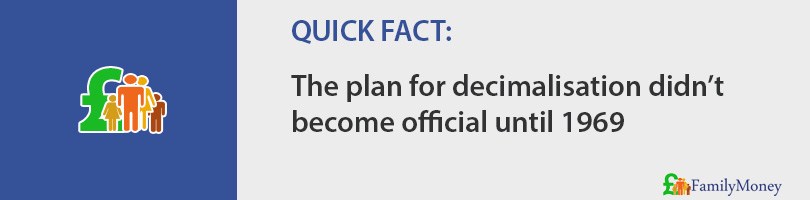 The plan for decimalisation didn't  become official until 1969