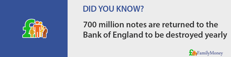 700 million notes are returned to the Bank of England to be destroyed yearly