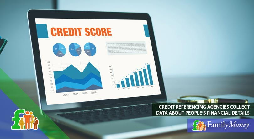 A picture of a laptop showing a credit score that is determined from the data that is collected by credit referencing agaencies
