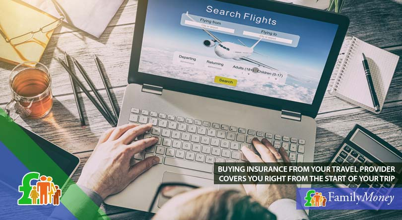 A man booking his flight online and considering the option to insure with his travel provider
