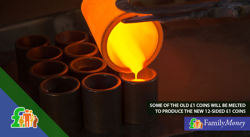 A picture of molten metal being distributed into casts for the purposes of coin-minting
