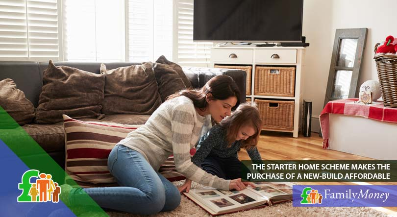 A mother sitting with her daughter at the living room of their newly bought home with a Help to Buy scheme