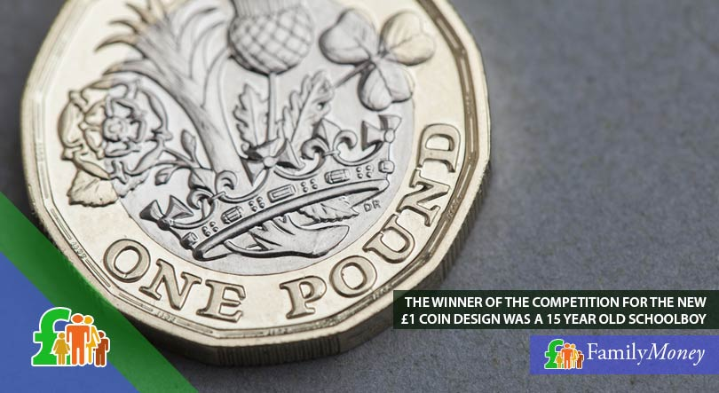 A picture of the new 1 pound coin which features a design by a 15 year old schoolboy