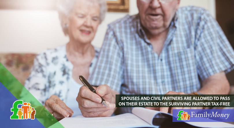An elderly couple are signing paperwork relating to the future of their estate