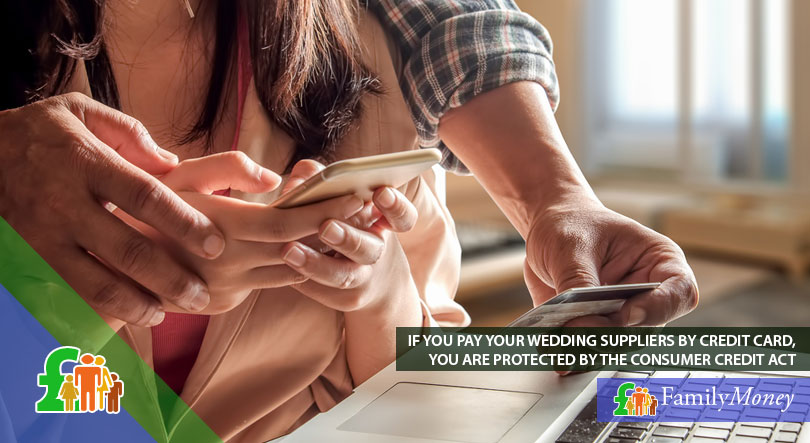 A picture of a couple paying their wedding suppliers by credit card over the internet