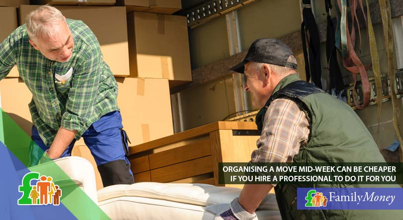 Professional movers taking household items out of the back of truck to move them into a newly purchased property