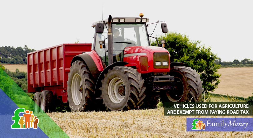 A picture of a tractor, which as an agricultural vehicle is exempt from paying road tax