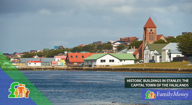 A view of historic building on the shore of Stanley, the capital town of the Falkland Islands