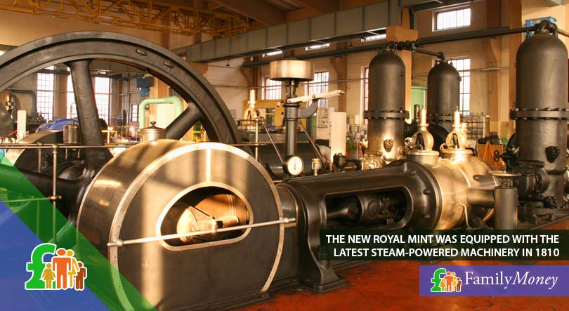 A picture of steam-powered machinery, such as used by the new Royal Mint in 1810 for the minting of coins