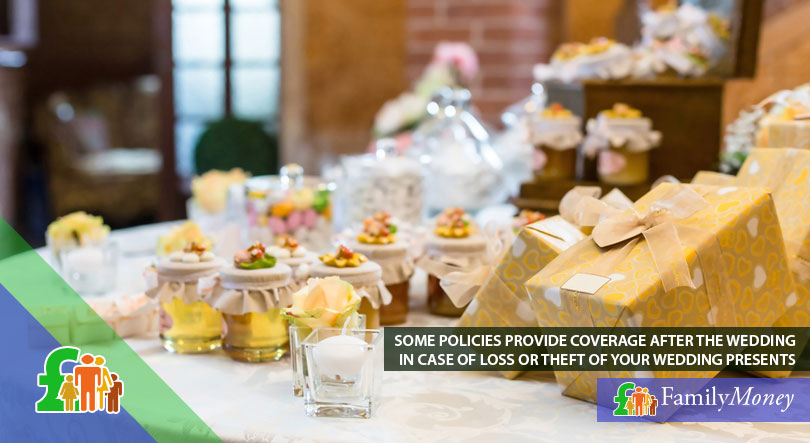 A picture of wedding presents which are insured in case of theft and loss as part of a wedding insurance policy