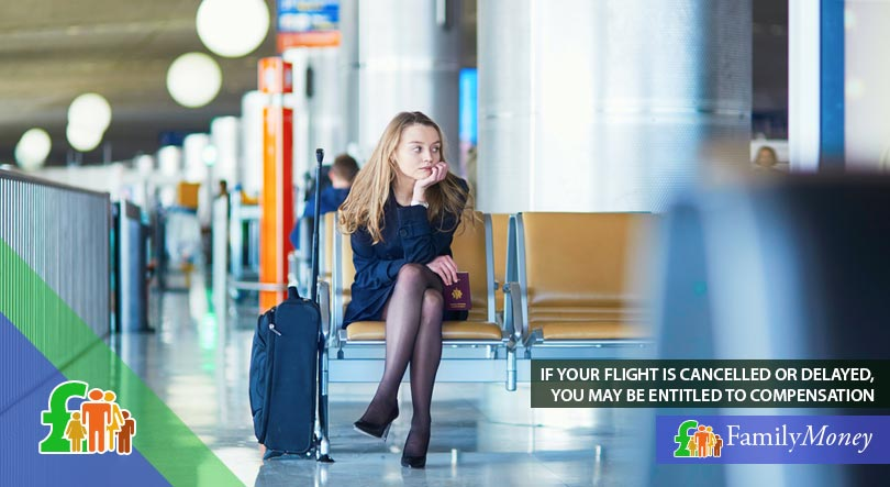 A woman is waiting at the airport for her delayed flight, for which she is able to receive compensation as part of her travel insurance