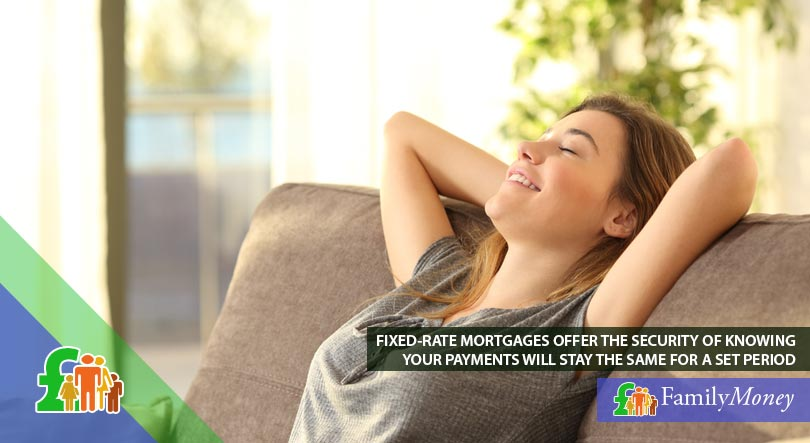 A woman relaxing on her sofa as she feels safe about her mortgage repayments with a fixed-rate mortgage