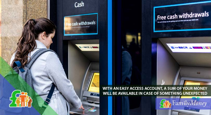 A woman withdrawing money from her easy access saving account because of something unexpected that came up